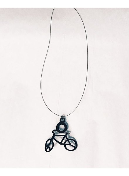 verdigris Invisible cord bike charm rubber necklace