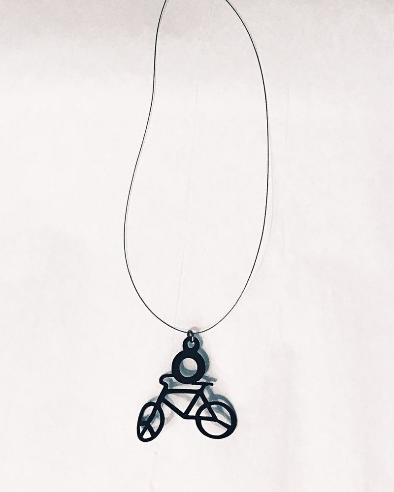 verdigris Invisible cord bike charm rubber necklace