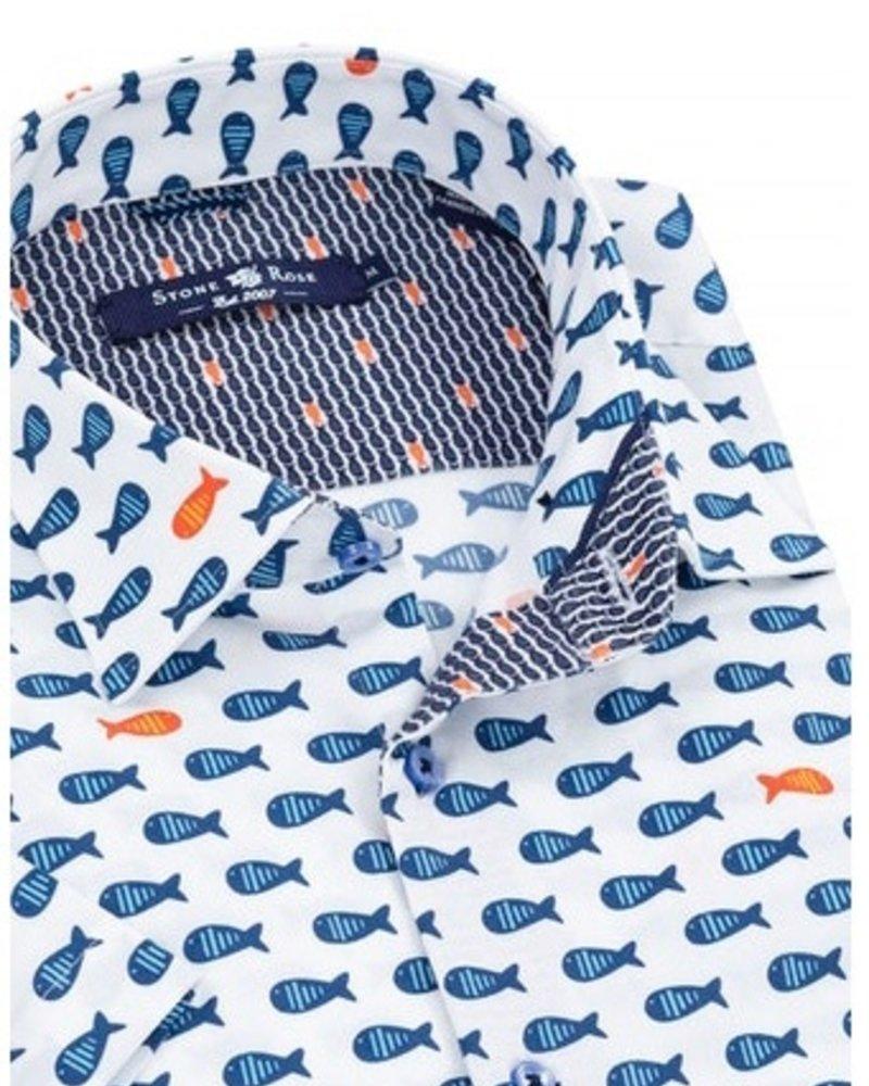 Stone Rose Jumbo fish print short sleeve shirt