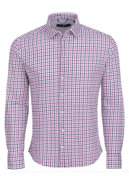 Stone Rose Check Knit Long Sleeve Shirt
