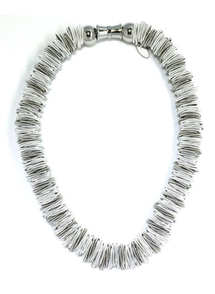 Silver and white spring ring piano wire necklace