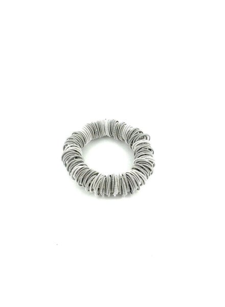 Silver and white spring ring piano wire bracelet