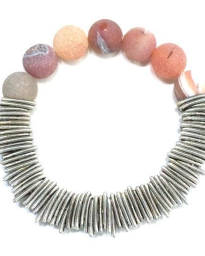 Silver spring ring piano wire bracelet with apricot druzy