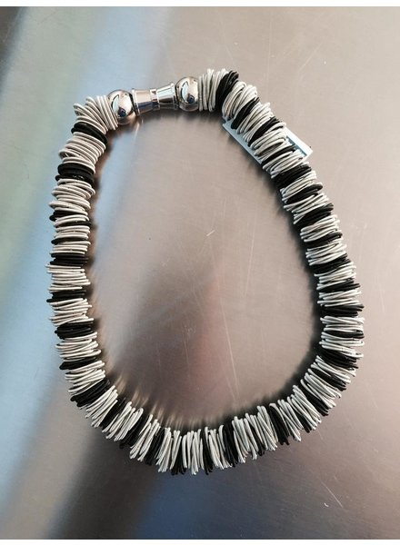 Silver and black spring ring piano wire necklace