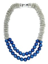 Silver spring ring piano wire necklace with 2 layers blue druzy