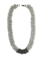 Silver spring ring piano wire necklace with slate section