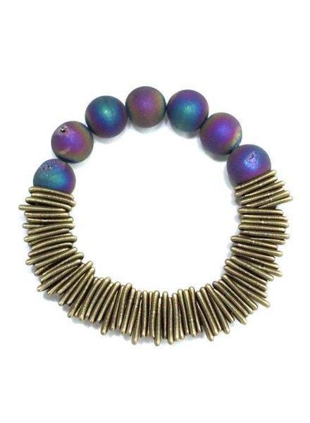 Bronze spring ring piano wire bracelet w/irri druzy