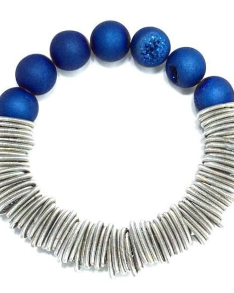 Silver spring piano wire necklace with blue druzy
