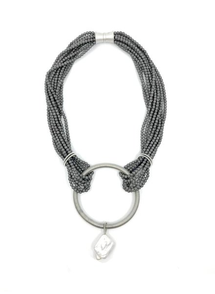 Gunmetal matte hematite necklace with silver piano wire ring and baroque pearl