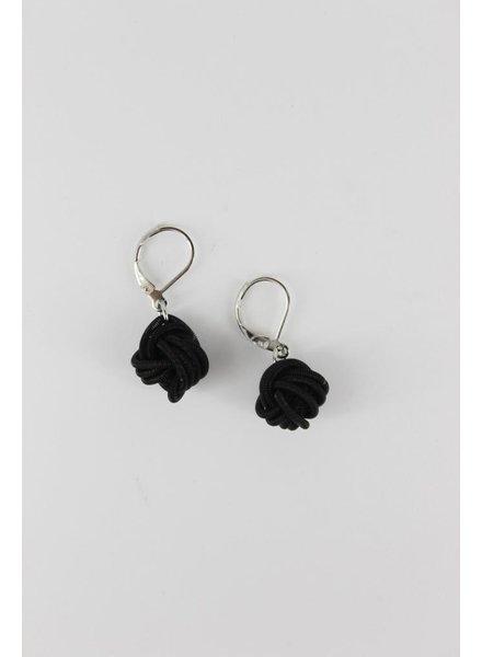 Black knot piano wire earrings