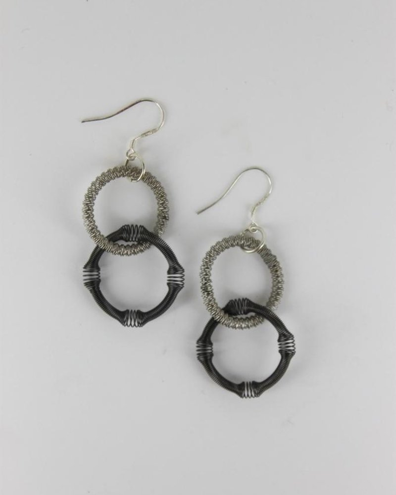 Silver and slate double loop piano wire earring
