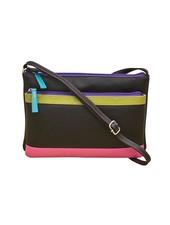 Leather cross body bag, <br /> Black brights