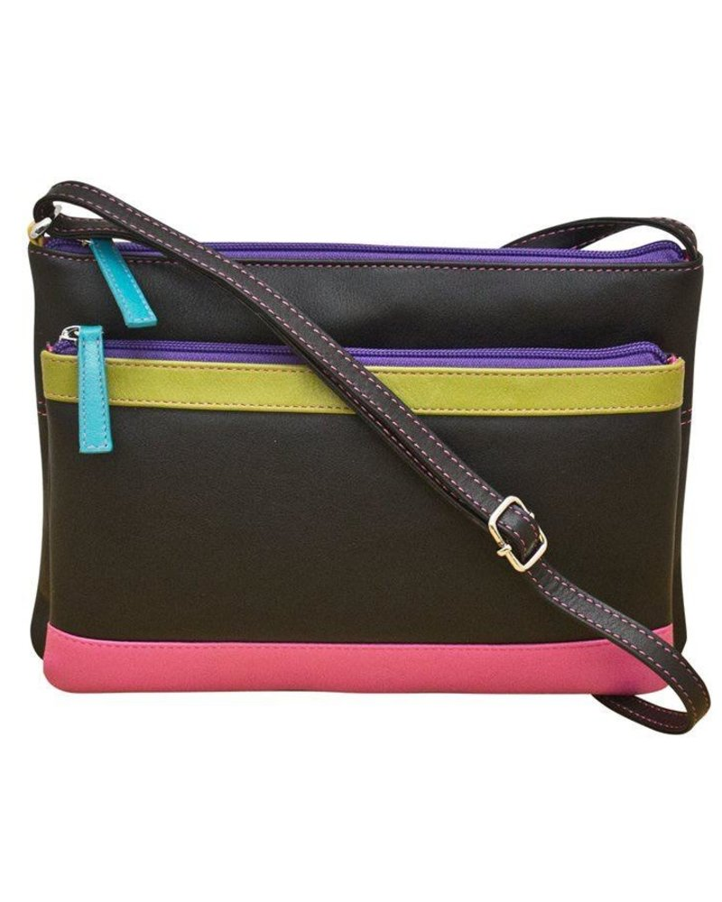 Leather cross body bag, <br /> Black brights