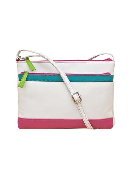 Leather crossbody , white brights