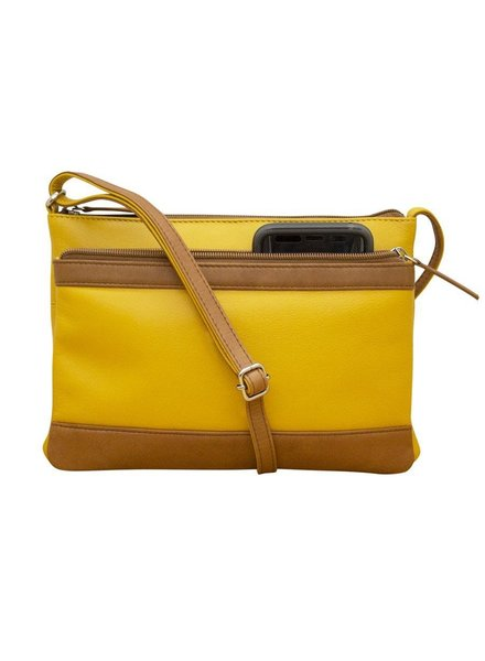 Leather crossbody in Yellow