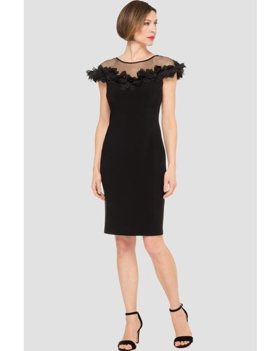 dae75ca26ae Joseph Ribkoff This elegant cocktail dress has a sheer chest and shoulders  with rounded neckline finished off with floral appliques - Verdigris