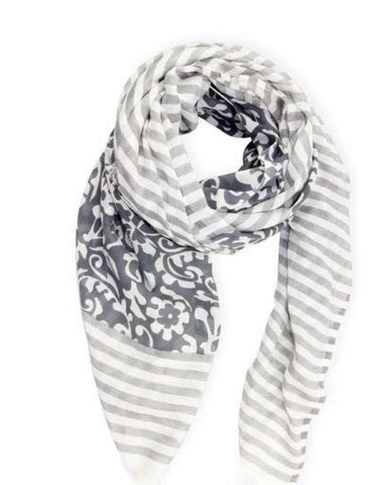 verdigris Penelope Paisley striped scarf