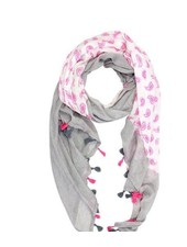 verdigris Paisley Pattern print scarf with tassel fringe