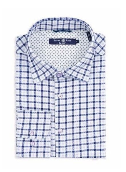 Stone Rose Check print long sleeves shirt