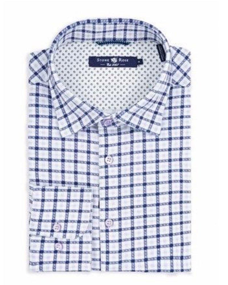 Stone Rose Check print long sleeves shirt