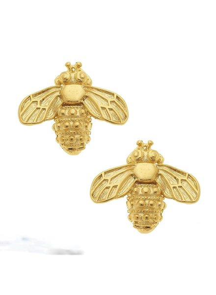 Susan Shaw Handcast Gold Bee Stud Earrings
