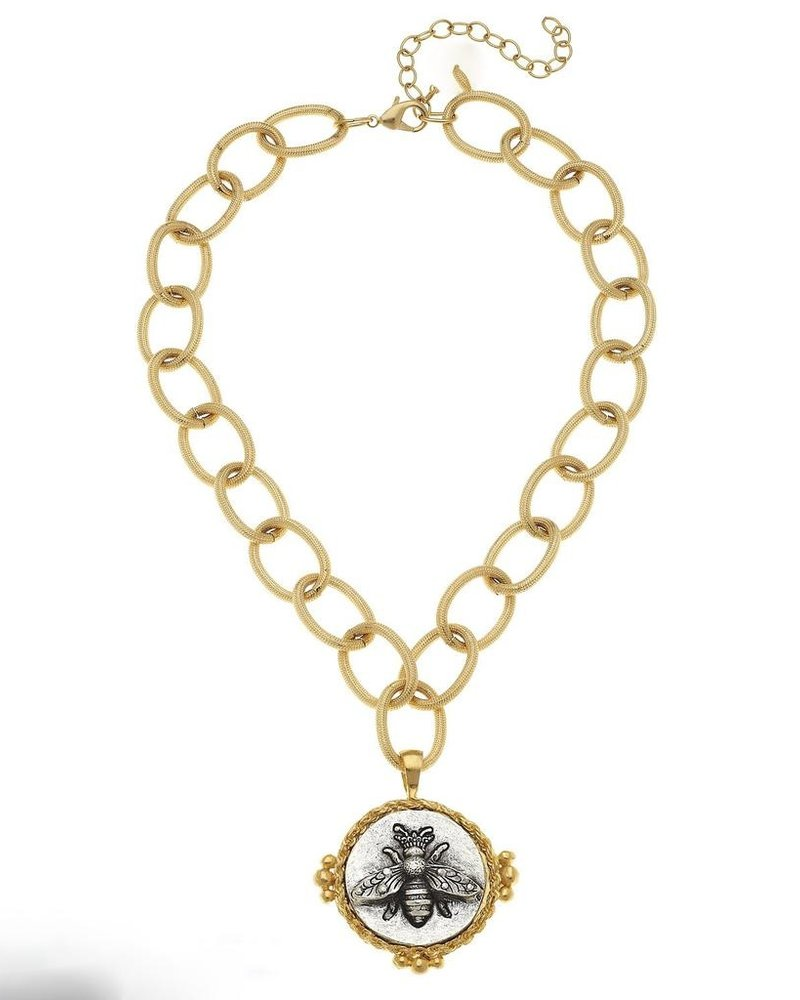 Susan Shaw Gold/Silver Bee Pendant on Textured Loop Chain