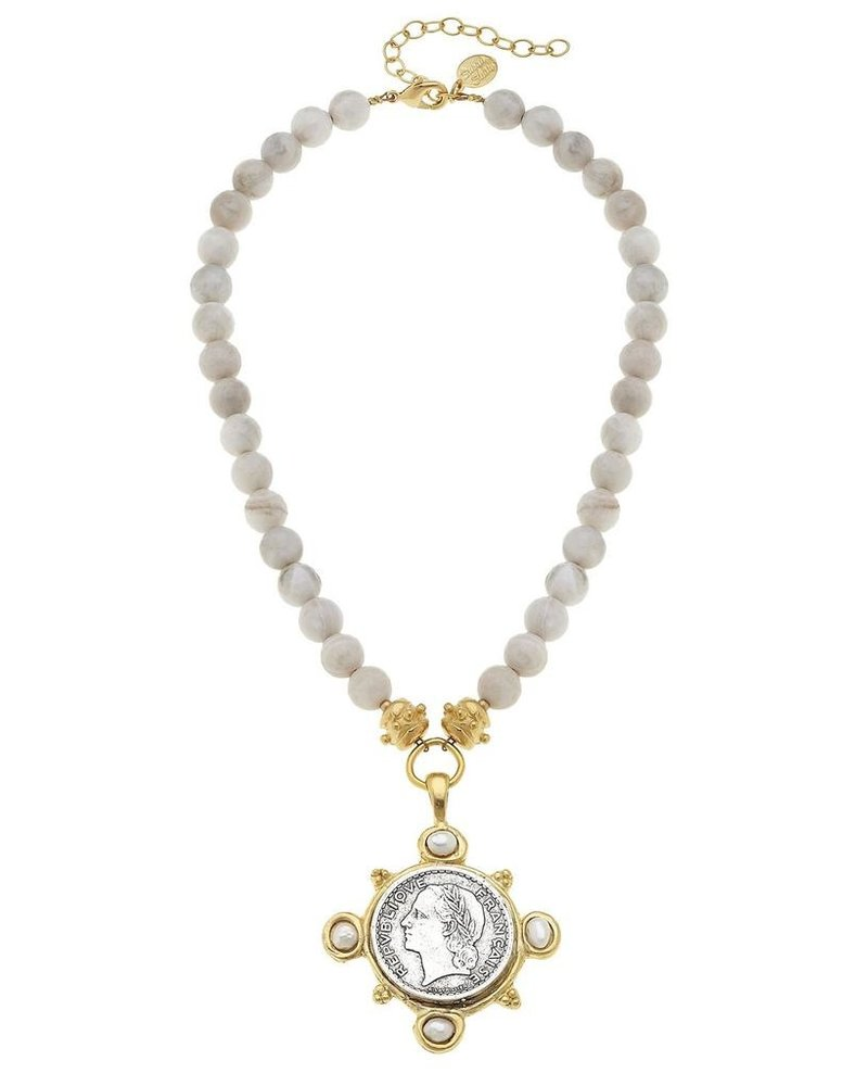 Susan Shaw Gold/Silver French Franc w/ Handset Genuine Freshwater Pearls on Genuine Silver Lace Agate Necklace
