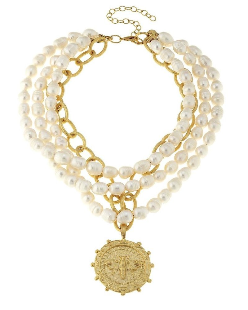 Susan Shaw Multi-Strand Freshwater Pearl Bee Necklace