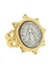 Susan Shaw Handcast Gold & Silver Italian Bee Coin Adjustable Ring