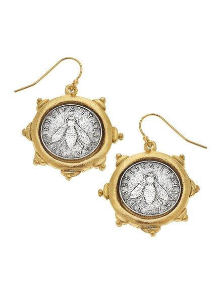 Susan Shaw Bee Coin Earrings