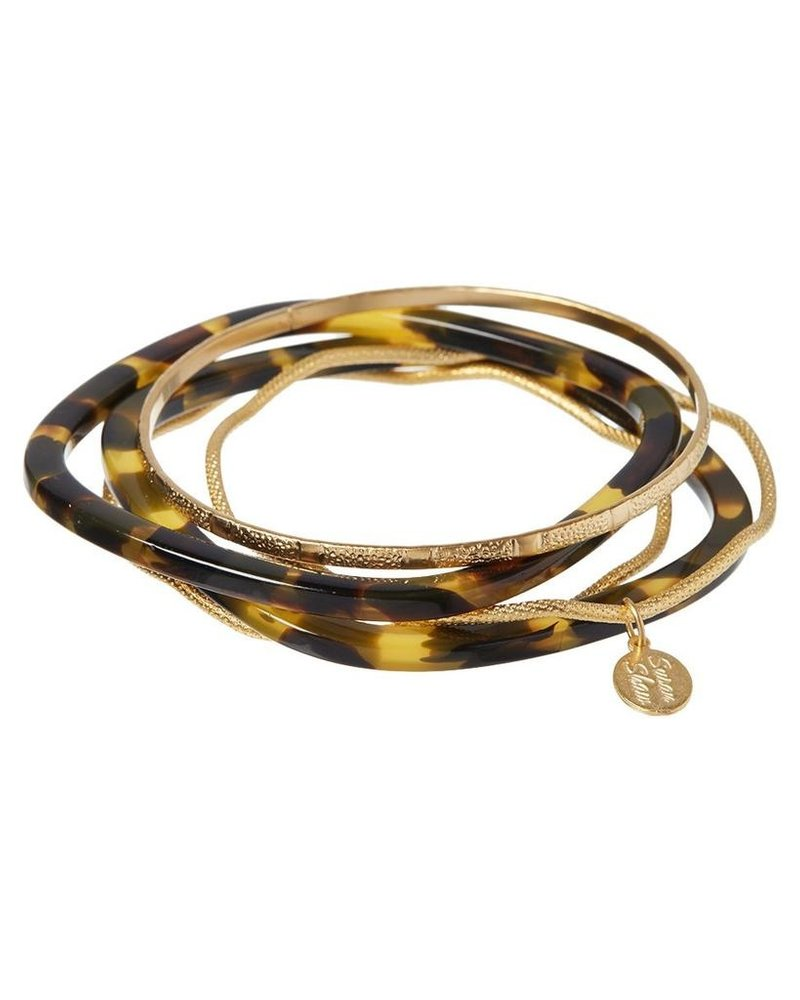 verdigris Tortoise & Gold Bangle Set