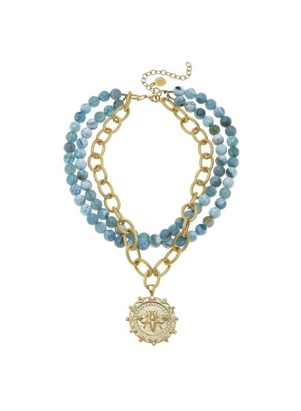 Susan Shaw Multi-Strand Agate Bee Necklace