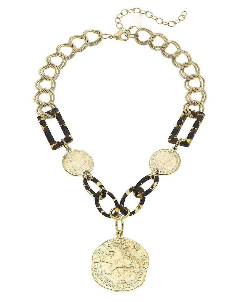 Susan Shaw Handcast Gold Coin with Tortoise Necklace.