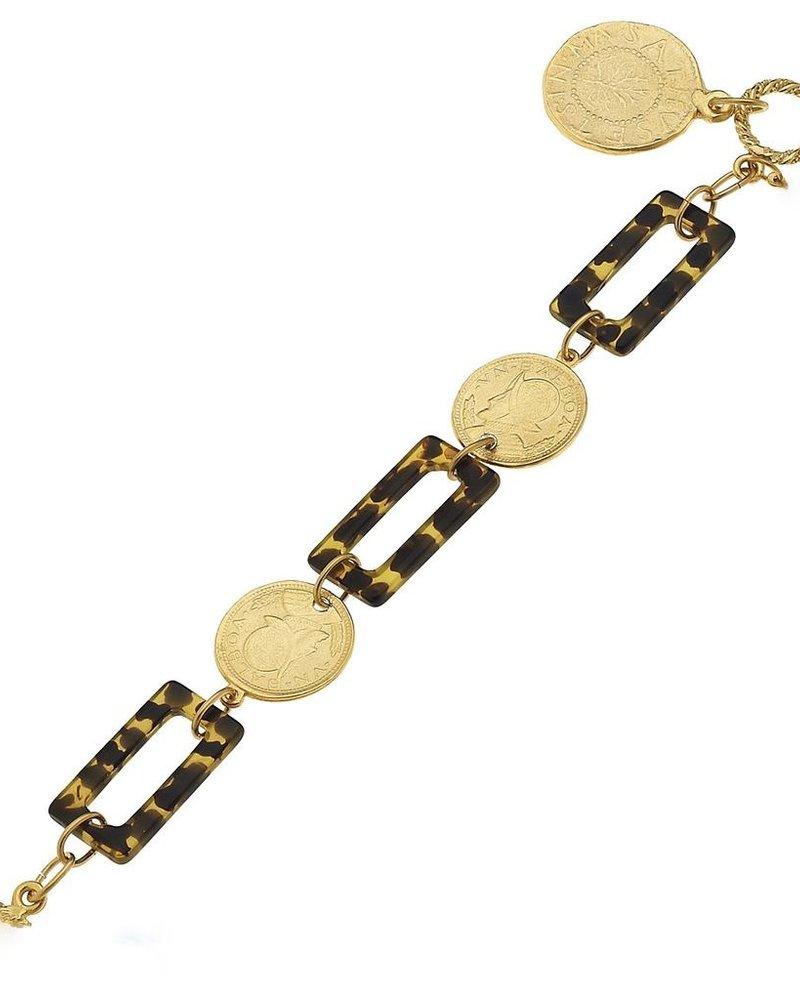 verdigris Coin + Tortoise Bracelet