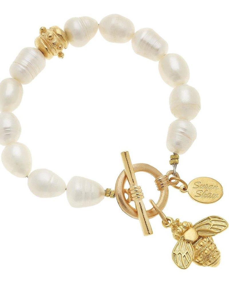 Susan Shaw Freshwater Pearl Bee Drop Bracelet