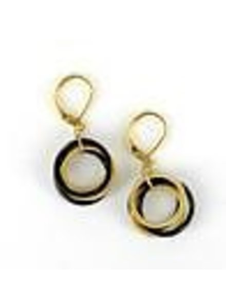 verdigris Black and Gold piano wire Loop Earring