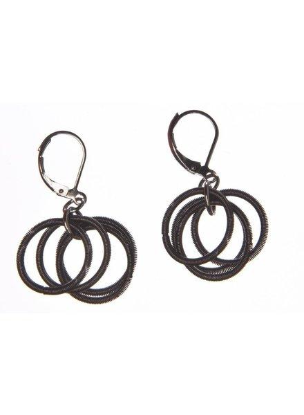 verdigris Slate piano wire Loop earring