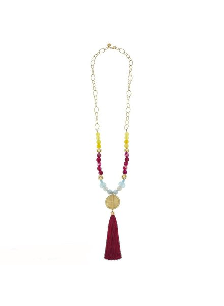 Susan Shaw Handcast Gold Bead & Pink Tassel, Recycled Bead Necklace