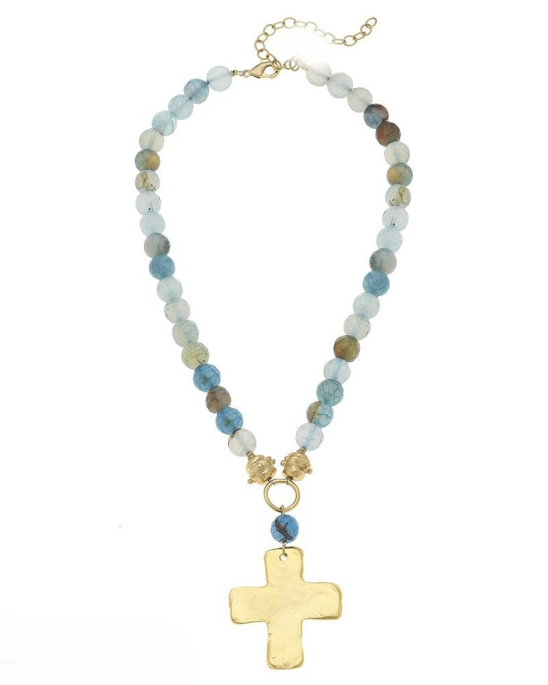 Susan Shaw Handcast Gold Cross on Genuine Teal Agate Necklace