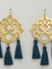 Susan Shaw Handcast Gold Filigree with Dark Teal Tassel Earrings