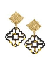 Susan Shaw Tortoise Clover Cab Earrings
