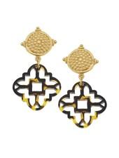 verdigris Tortoise Clover Cab Earrings