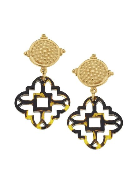 Susan Shaw Tortoise Clover Cab Earrings