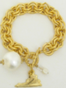 """Susan Shaw Handcast Gold """"Virginia"""" State with Cotton Pearl Bracelet"""