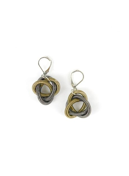 verdigris Slate and Bronze piano wire Twisted Loop Earring