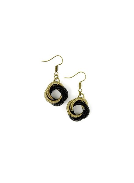 verdigris Black/Bronze piano wire Twist Loop Earring
