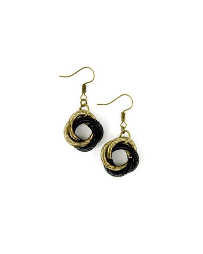 verdigris Black/Bronze piano wire Twist Loop Earring
