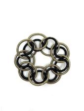 verdigris Bronze/Black piano wire Loop Bracelet