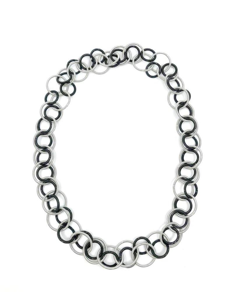 verdigris Silver/Black Long Multi Loop piano wire Necklace