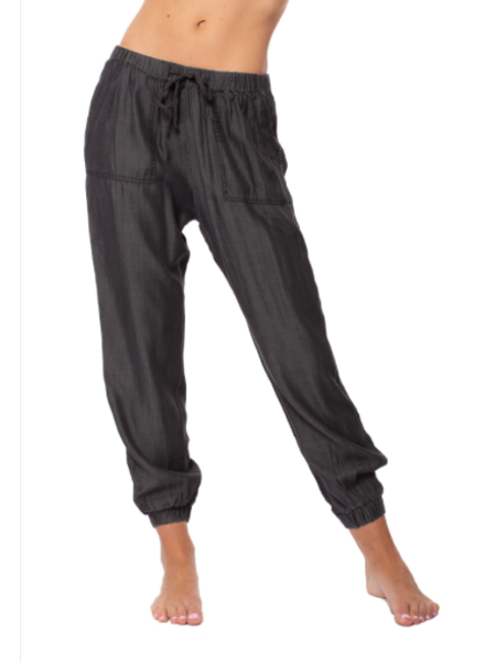 Drawstring Pants W/Pocket And Elastic Waist & Ankle